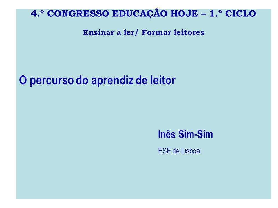 4.º CONGRESSO EDUCAÇÃO HOJE – 1.º CICLO Ensinar a ler/ Formar leitores O percurso do aprendiz de leitor Inês Sim-Sim ESE de Lisboa