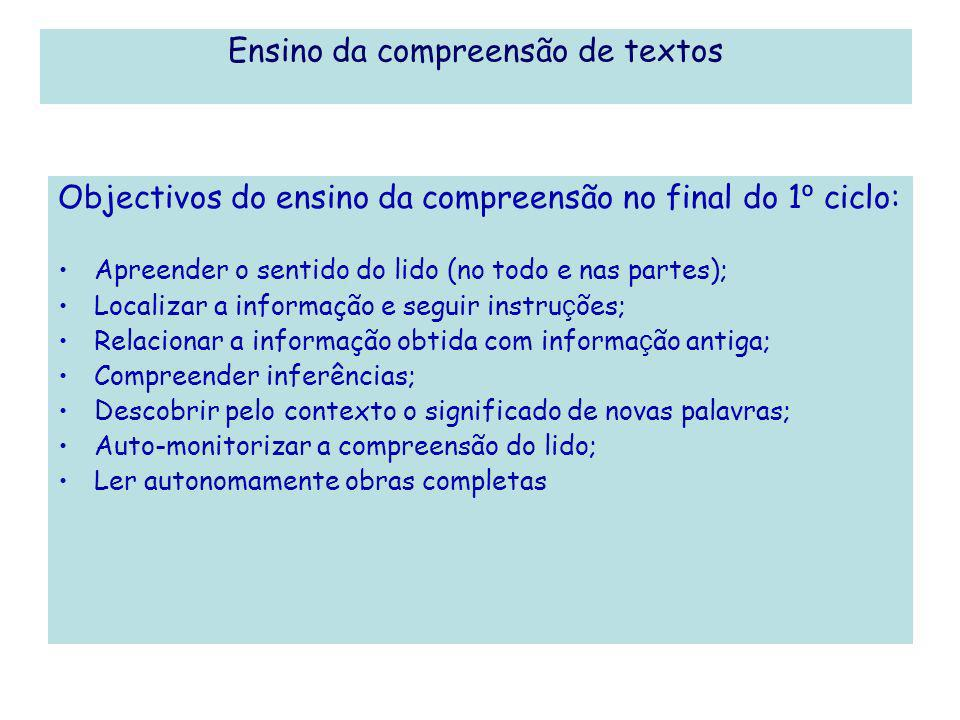 Ensino da compreensão de textos Objectivos do ensino da compreensão no final do 1 º ciclo: Apreender o sentido do lido (no todo e nas partes); Localiz