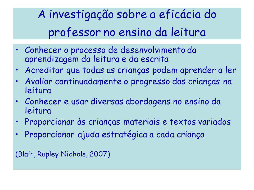 A investigação sobre a eficácia do professor no ensino da leitura Conhecer o processo de desenvolvimento da aprendizagem da leitura e da escrita Acred
