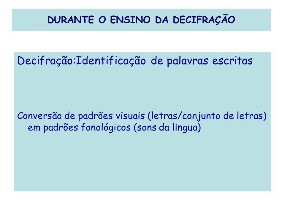 DURANTE O ENSINO DA DECIFRAÇÃO Decifração:Identificação de palavras escritas Conversão de padrões visuais (letras/conjunto de letras) em padrões fonol