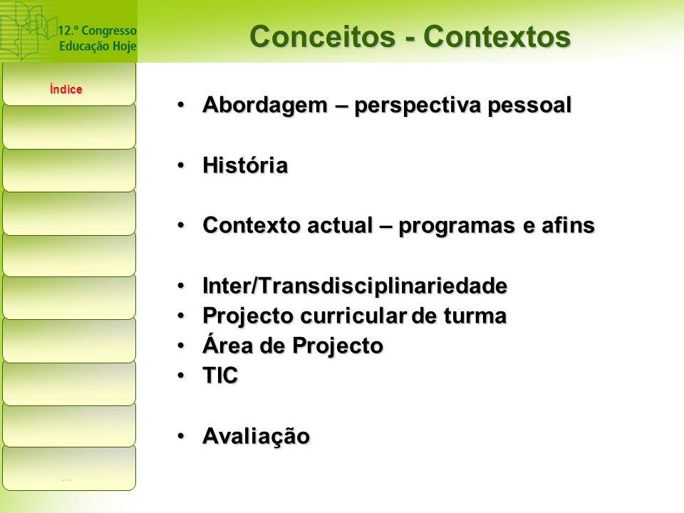 Abordagem – perspectiva pessoalAbordagem – perspectiva pessoal HistóriaHistória Contexto actual – programas e afinsContexto actual – programas e afins