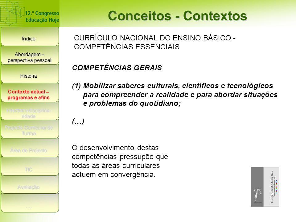 Índice Conceitos - Contextos História Contexto actual – programas e afins Inter/transdisciplina- ridade Projecto Curricular de Turma Área de Projecto TIC Avaliação ….