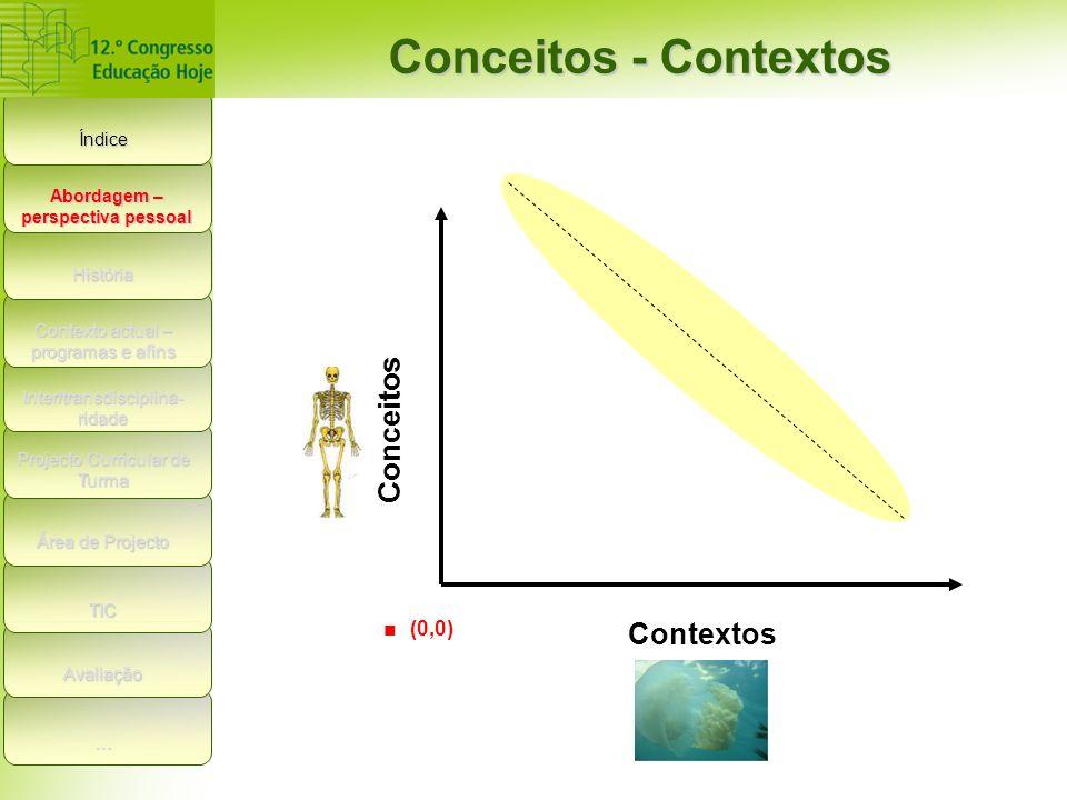 Índice Conceitos - Contextos História Contexto actual – programas e afins Inter/transdisciplina- ridade Projecto Curricular de Turma Área de Projecto TIC Avaliação Conceitos Contextos.