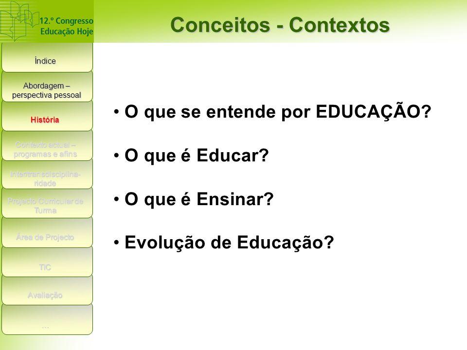 Índice Conceitos - Contextos História Contexto actual – programas e afins Inter/transdisciplina- ridade Projecto Curricular de Turma Área de Projecto