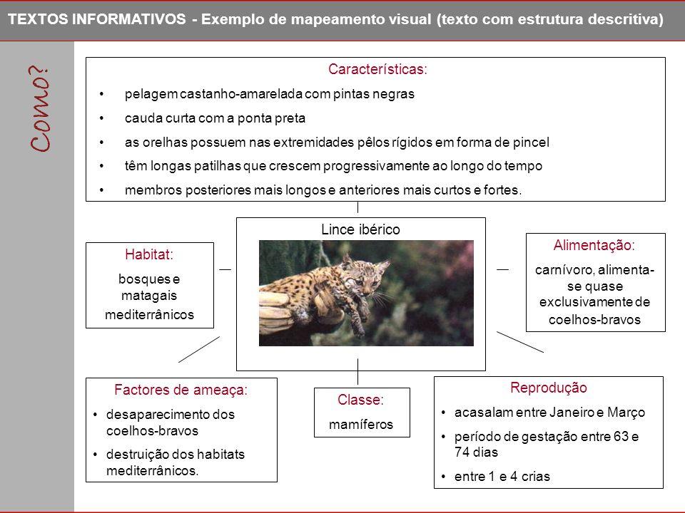 Classe: mamíferos Características: pelagem castanho-amarelada com pintas negras cauda curta com a ponta preta as orelhas possuem nas extremidades pêlo