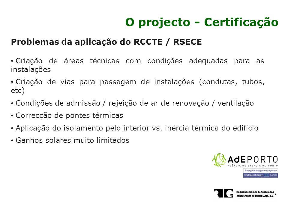 Problemas da aplicação do RCCTE / RSECE Criação de áreas técnicas com condições adequadas para as instalações Criação de vias para passagem de instala