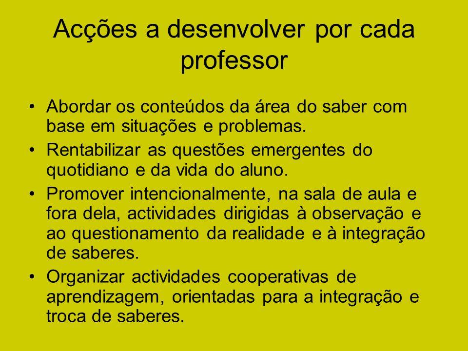 Acções a desenvolver por cada professor Abordar os conteúdos da área do saber com base em situações e problemas. Rentabilizar as questões emergentes d