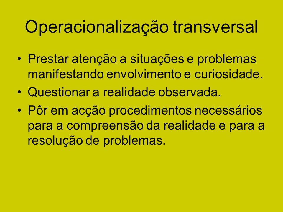 Operacionalização transversal Prestar atenção a situações e problemas manifestando envolvimento e curiosidade. Questionar a realidade observada. Pôr e