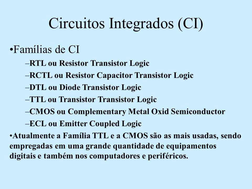 Circuitos Integrados (CI) Famílias de CI –RTL ou Resistor Transistor Logic –RCTL ou Resistor Capacitor Transistor Logic –DTL ou Diode Transistor Logic
