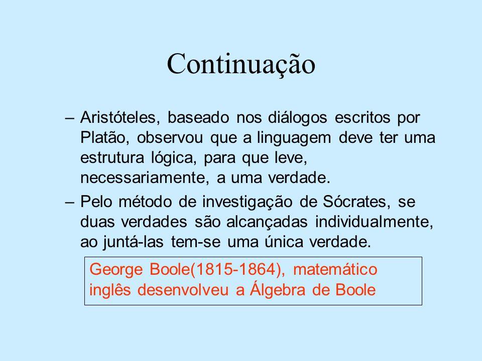Continuação –Aristóteles, baseado nos diálogos escritos por Platão, observou que a linguagem deve ter uma estrutura lógica, para que leve, necessariam