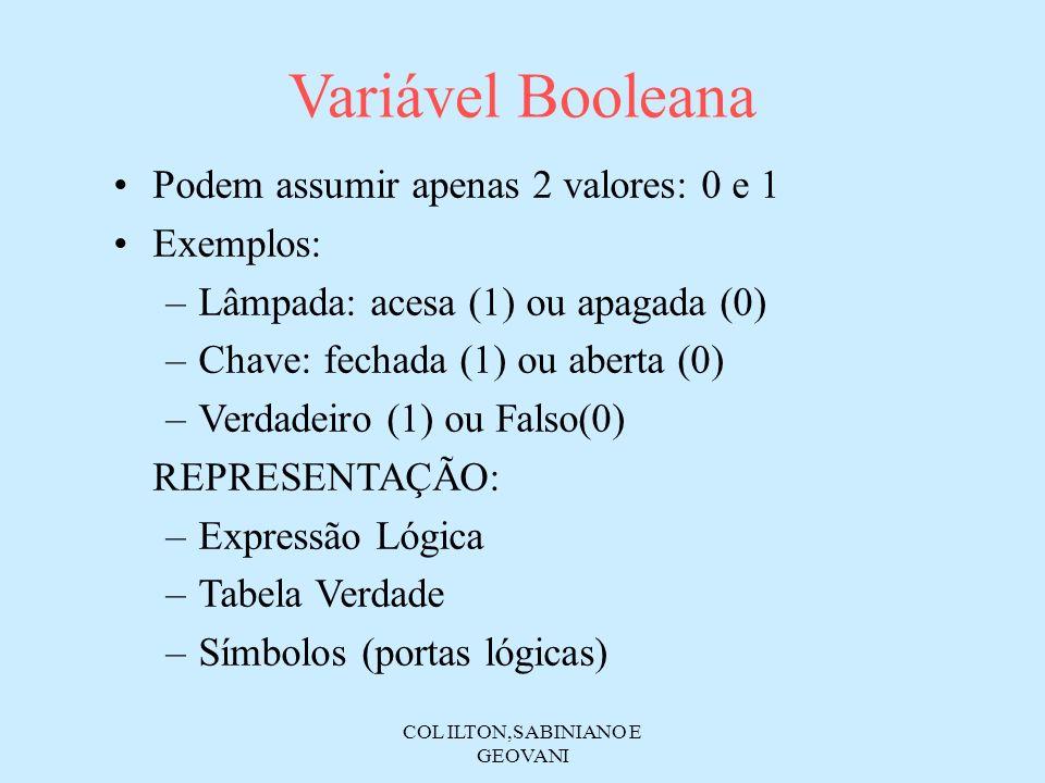 COL ILTON,SABINIANO E GEOVANI Variável Booleana Podem assumir apenas 2 valores: 0 e 1 Exemplos: –Lâmpada: acesa (1) ou apagada (0) –Chave: fechada (1)