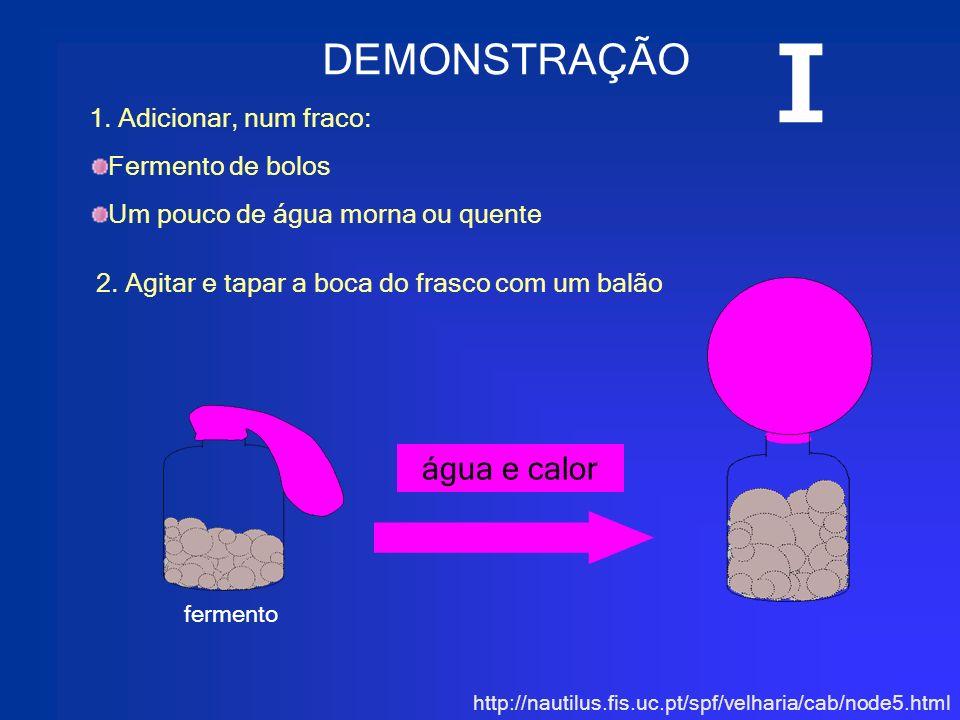 http://nautilus.fis.uc.pt/spf/velharia/cab/node5.html água e calor DEMONSTRAÇÃO 1. Adicionar, num fraco: Fermento de bolos Um pouco de água morna ou q
