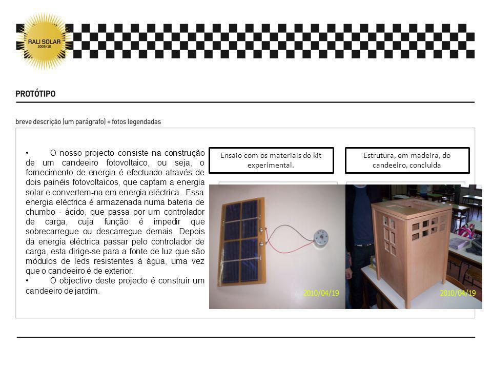 O nosso projecto consiste na construção de um candeeiro fotovoltaico, ou seja, o fornecimento de energia é efectuado através de dois painéis fotovolta