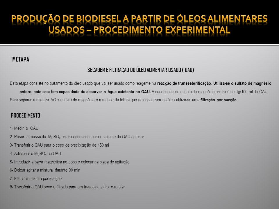 1ª ETAPA SECAGEM E FILTRAÇÃO DO ÓLEO ALIMENTAR USADO ( OAU) Esta etapa consiste no tratamento do óleo usado que vai ser usado como reagente na reacção de transesterificação.