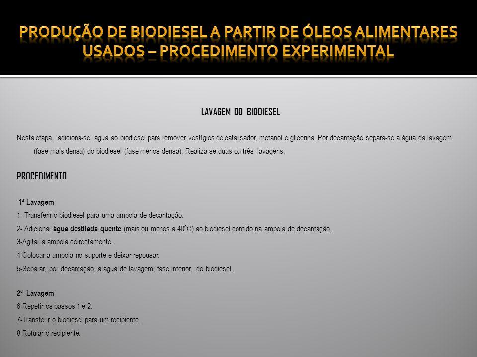 LAVAGEM DO BIODIESEL Nesta etapa, adiciona-se água ao biodiesel para remover vestígios de catalisador, metanol e glicerina.