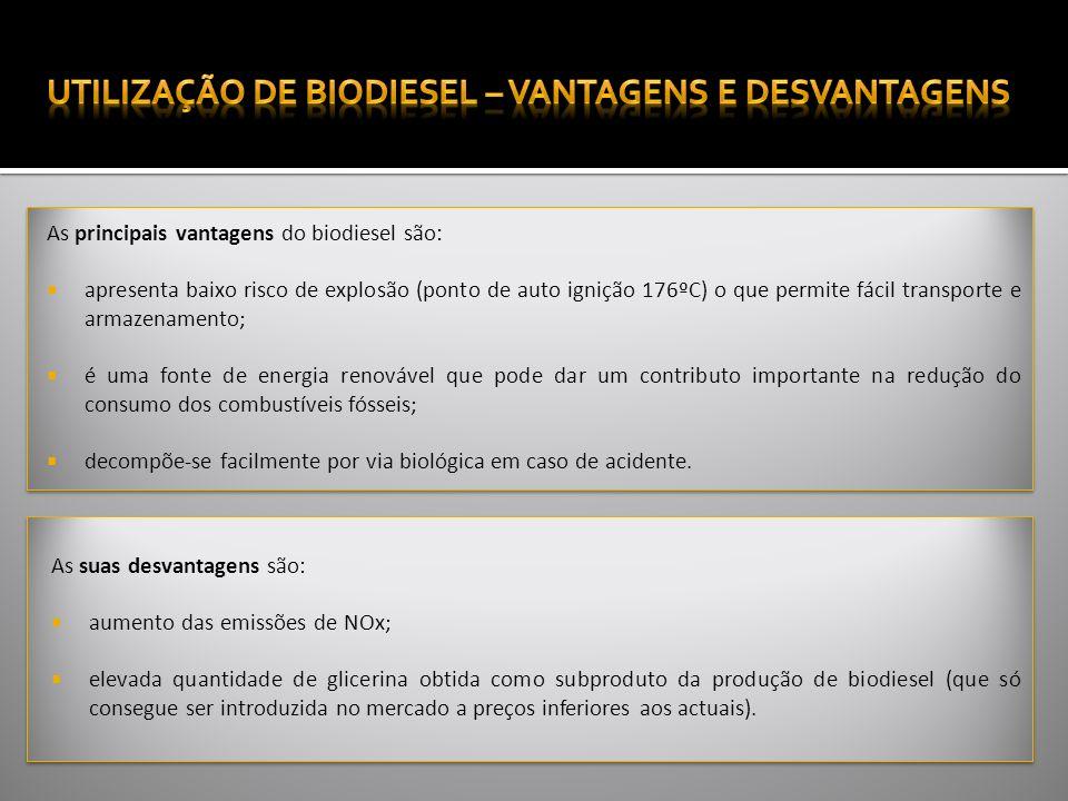 As principais vantagens do biodiesel são: apresenta baixo risco de explosão (ponto de auto ignição 176ºC) o que permite fácil transporte e armazenamento; é uma fonte de energia renovável que pode dar um contributo importante na redução do consumo dos combustíveis fósseis; decompõe-se facilmente por via biológica em caso de acidente.