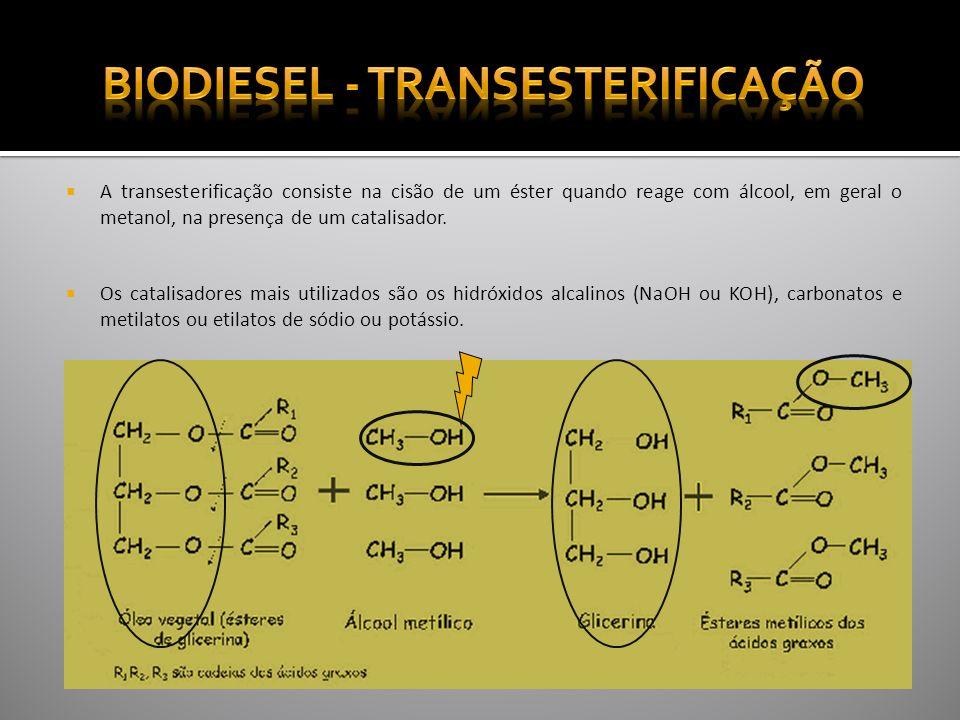 4ª ETAPA SEPARAÇÃO DA GLICERINA DO BIODIESEL Nesta etapa procede-se à separação da glicerina (fase mais densa e mais escura ) do biodiesel (fase menos densa e mais clara),por decantação, após arrefecimento dos produtos da reacção.