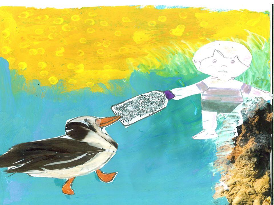 Até que um dia o menino estava na praia e viu uma gaivota com uma coisa muito brilhante no bico. Era um frasco cheio de agua muito clara e luminosa. A