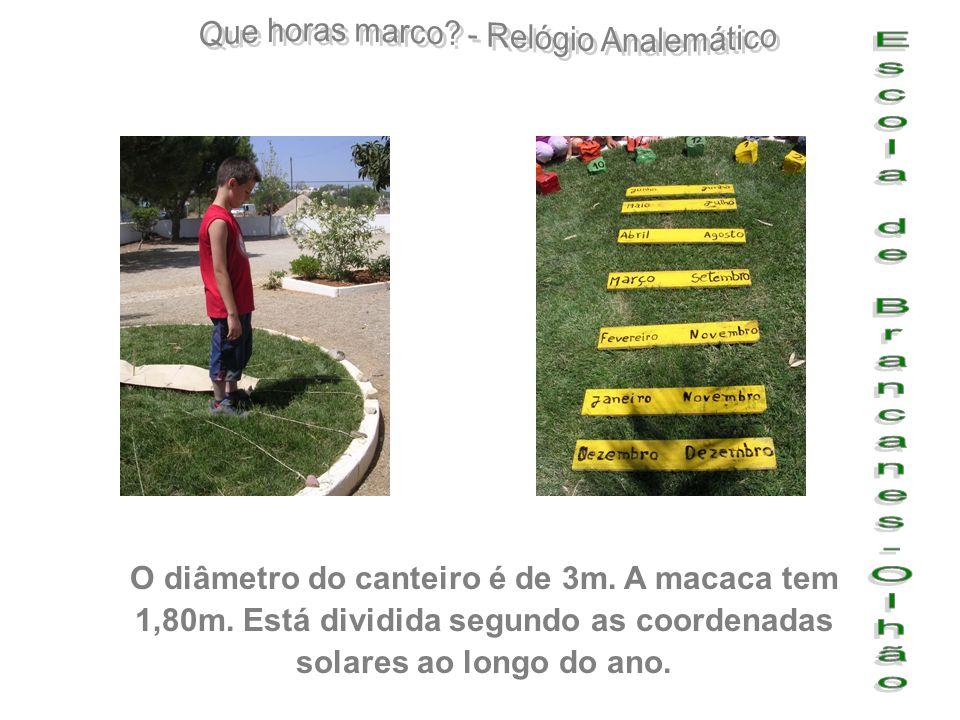 O diâmetro do canteiro é de 3m. A macaca tem 1,80m. Está dividida segundo as coordenadas solares ao longo do ano.