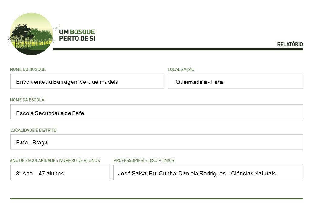 Queimadela - Fafe Escola Secundária de Fafe Fafe - Braga José Salsa; Rui Cunha; Daniela Rodrigues – Ciências Naturais Envolvente da Barragem de Queima