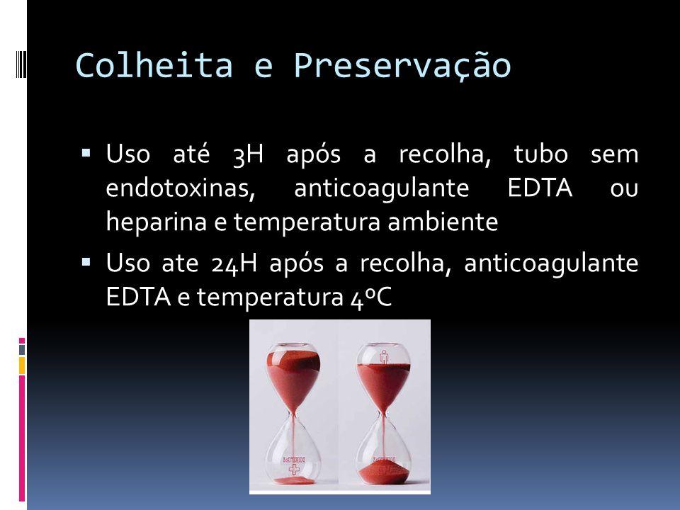 Colheita e Preservação Uso até 3H após a recolha, tubo sem endotoxinas, anticoagulante EDTA ou heparina e temperatura ambiente Uso ate 24H após a reco