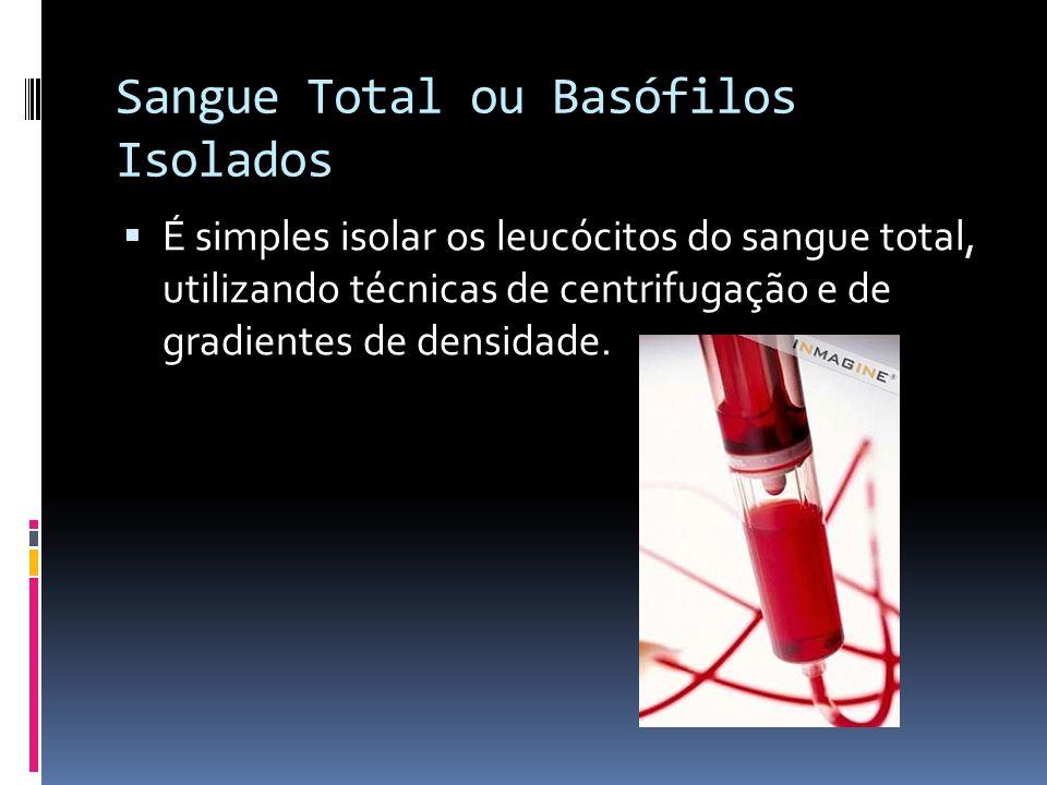 Sangue Total ou Basófilos Isolados É simples isolar os leucócitos do sangue total, utilizando técnicas de centrifugação e de gradientes de densidade.