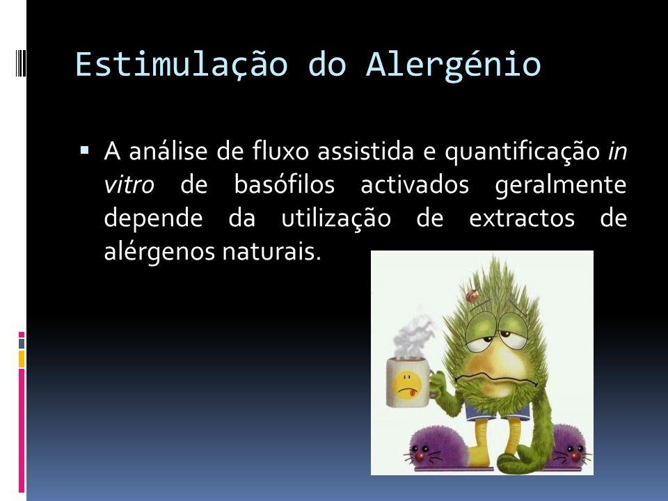 Estimulação do Alergénio A análise de fluxo assistida e quantificação in vitro de basófilos activados geralmente depende da utilização de extractos de
