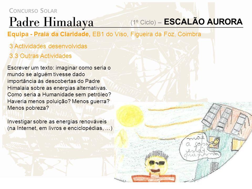 3 Actividades desenvolvidas 3.3 Outras Actividades Equipa - Praia da Claridade, EB1 do Viso, Figueira da Foz, Coimbra Explorar os materiais do site da