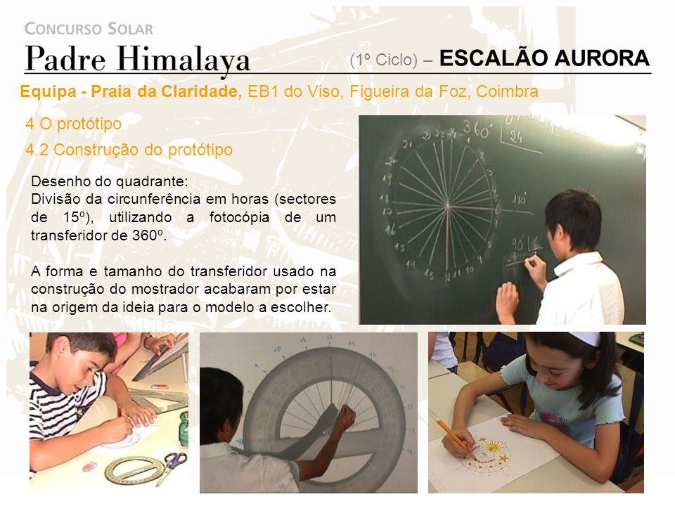 Depois de toda a informação recolhida no âmbito do tema, cada aluno desenhou e propôs à turma um tipo de relógio de sol a realizar. Surgiram três tipo