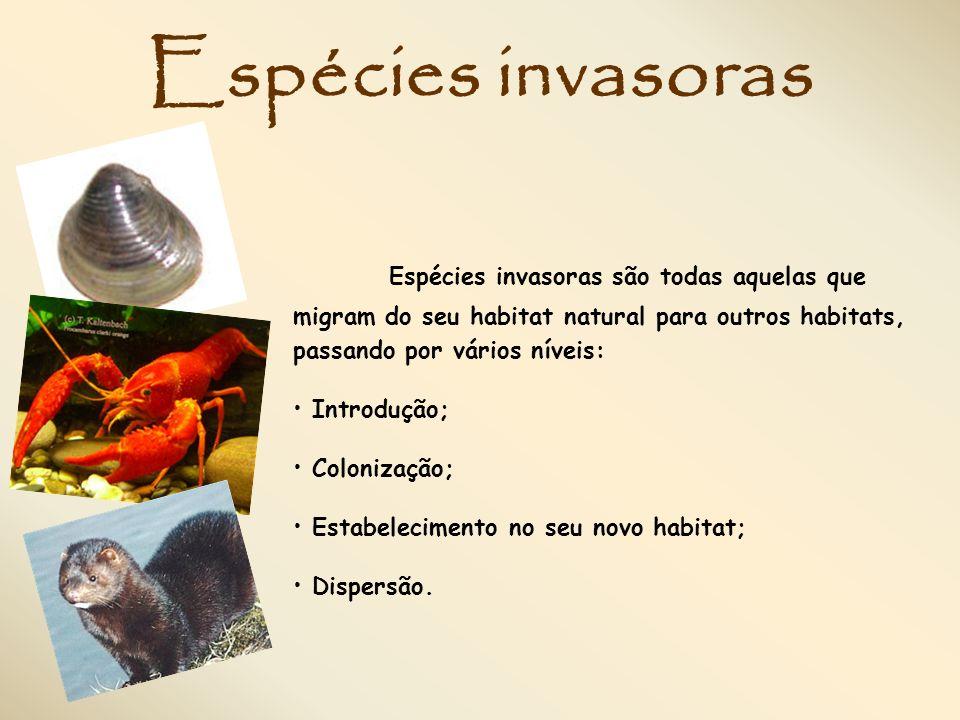 Espécies invasoras Espécies invasoras são todas aquelas que migram do seu habitat natural para outros habitats, passando por vários níveis: Introdução