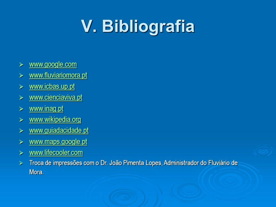 V. Bibliografia www.google.com www.google.com www.google.com www.fluviariomora.pt www.fluviariomora.pt www.fluviariomora.pt www.icbas.up.pt www.icbas.
