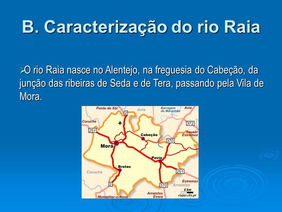 B. Caracterização do rio Raia O rio Raia nasce no Alentejo, na freguesia do Cabeção, da junção das ribeiras de Seda e de Tera, passando pela Vila de M