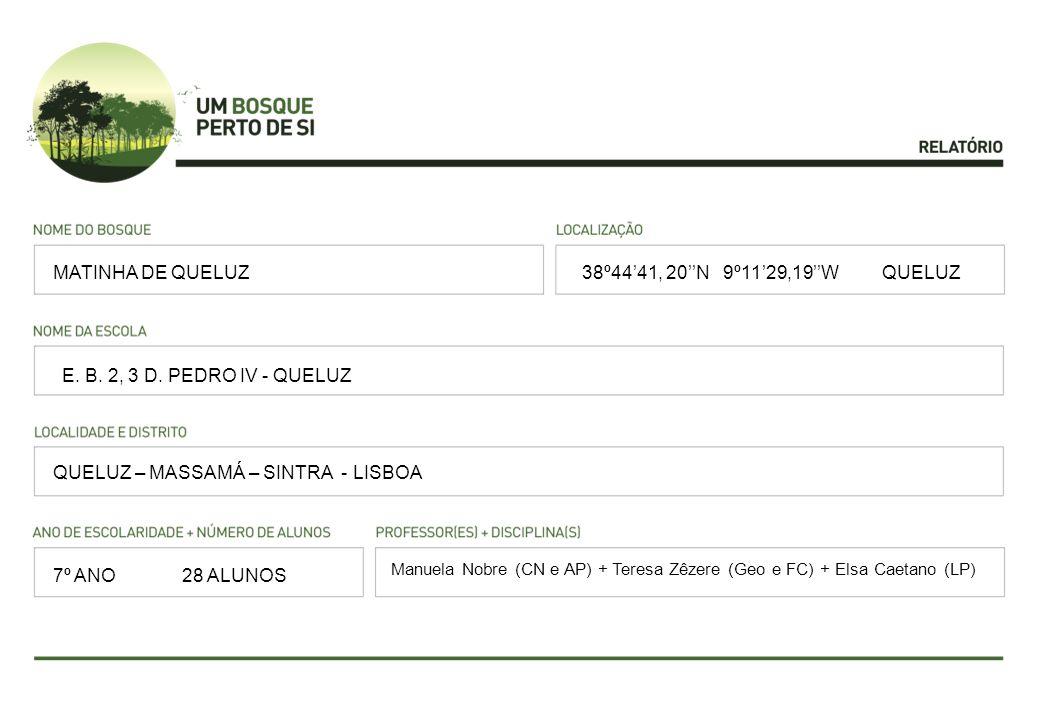 38º4441, 20N 9º1129,19W QUELUZ E. B. 2, 3 D. PEDRO IV - QUELUZ QUELUZ – MASSAMÁ – SINTRA - LISBOA Manuela Nobre (CN e AP) + Teresa Zêzere (Geo e FC) +