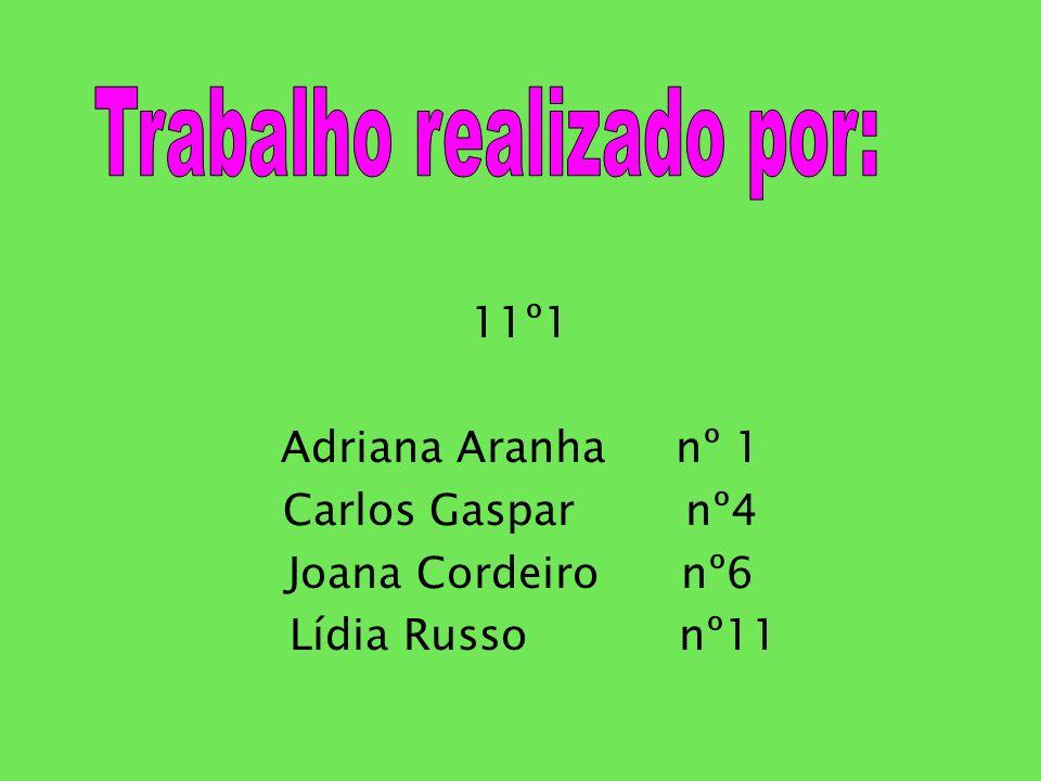 11º1 Adriana Aranha nº 1 Carlos Gaspar nº4 Joana Cordeiro nº6 Lídia Russo nº11