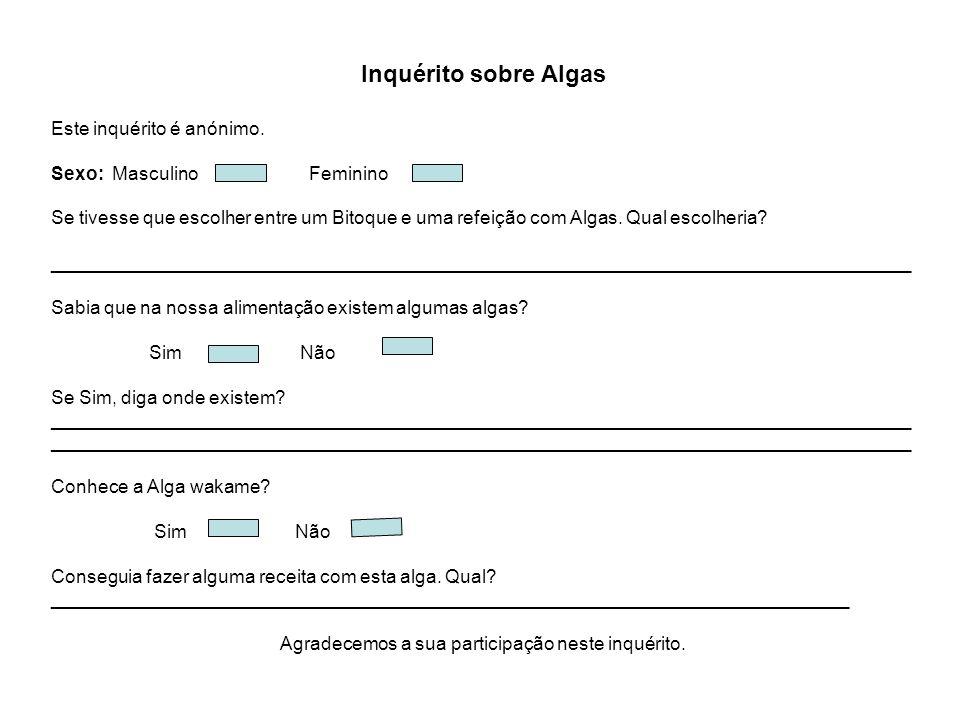 Inquérito sobre Algas Este inquérito é anónimo. Sexo: Masculino Feminino Se tivesse que escolher entre um Bitoque e uma refeição com Algas. Qual escol