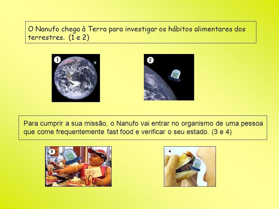 O Nanufo chega à Terra para investigar os hábitos alimentares dos terrestres. (1 e 2) Para cumprir a sua missão, o Nanufo vai entrar no organismo de u