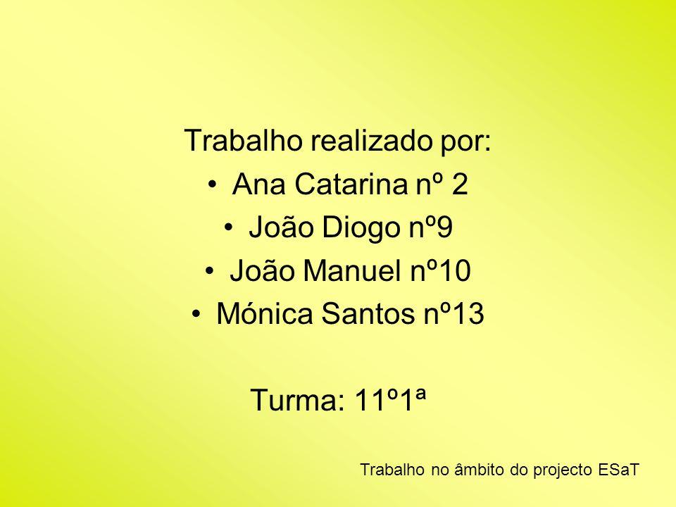Trabalho realizado por: Ana Catarina nº 2 João Diogo nº9 João Manuel nº10 Mónica Santos nº13 Turma: 11º1ª Trabalho no âmbito do projecto ESaT