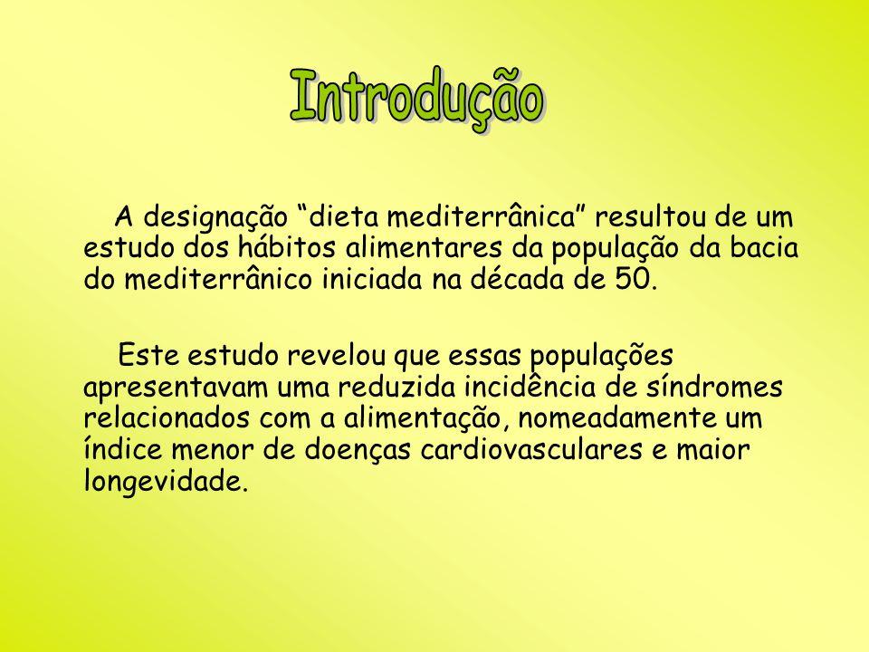 A designação dieta mediterrânica resultou de um estudo dos hábitos alimentares da população da bacia do mediterrânico iniciada na década de 50. Este e