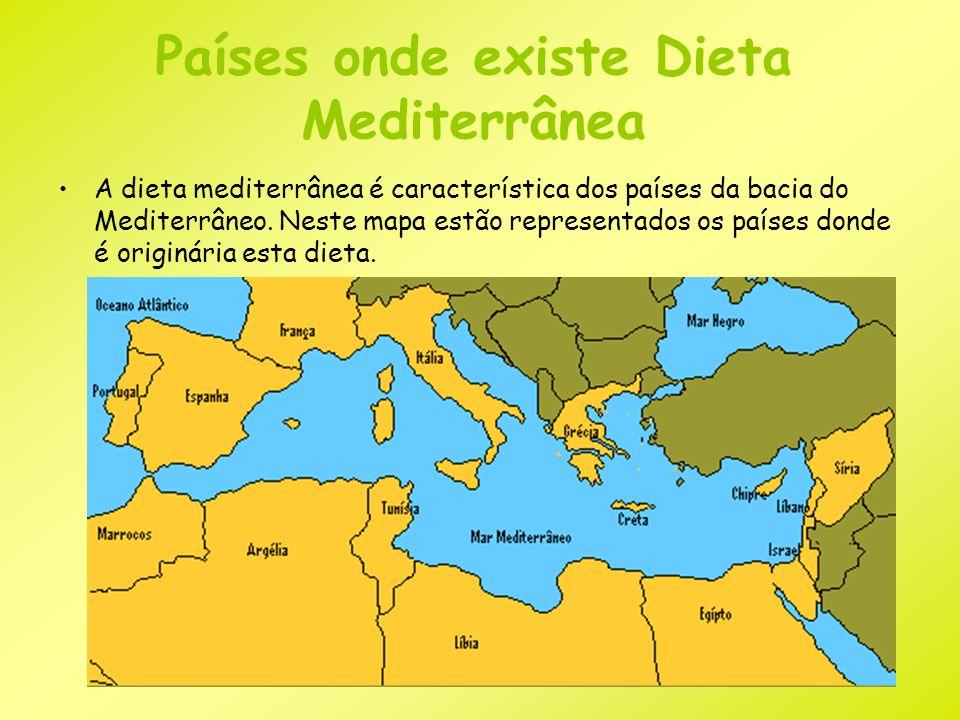 Países onde existe Dieta Mediterrânea A dieta mediterrânea é característica dos países da bacia do Mediterrâneo. Neste mapa estão representados os paí