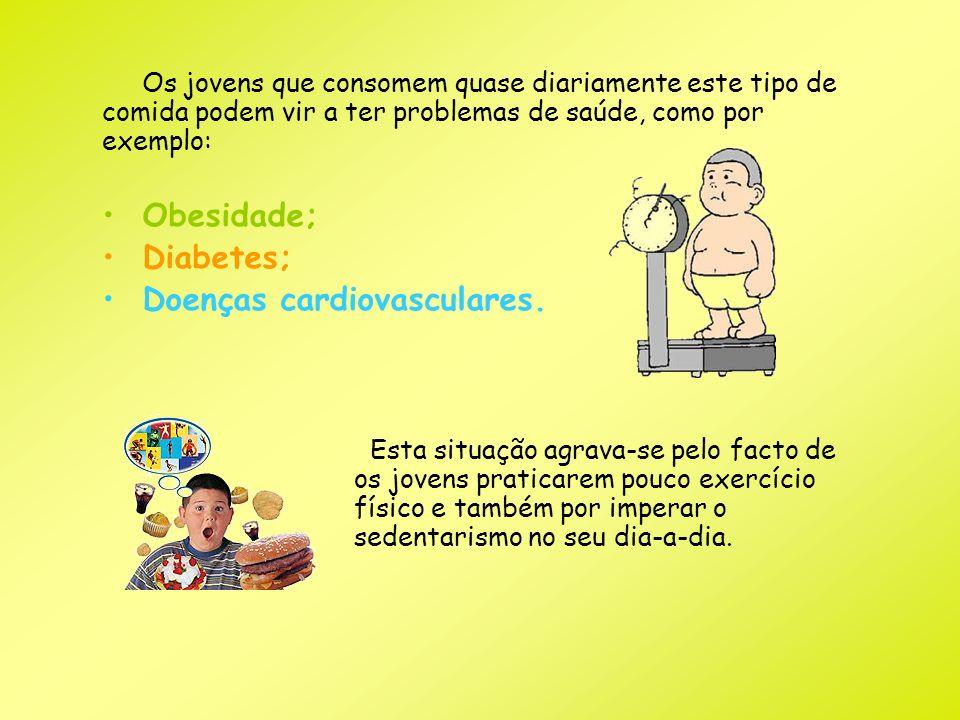 Os jovens que consomem quase diariamente este tipo de comida podem vir a ter problemas de saúde, como por exemplo: Obesidade; Diabetes; Doenças cardio