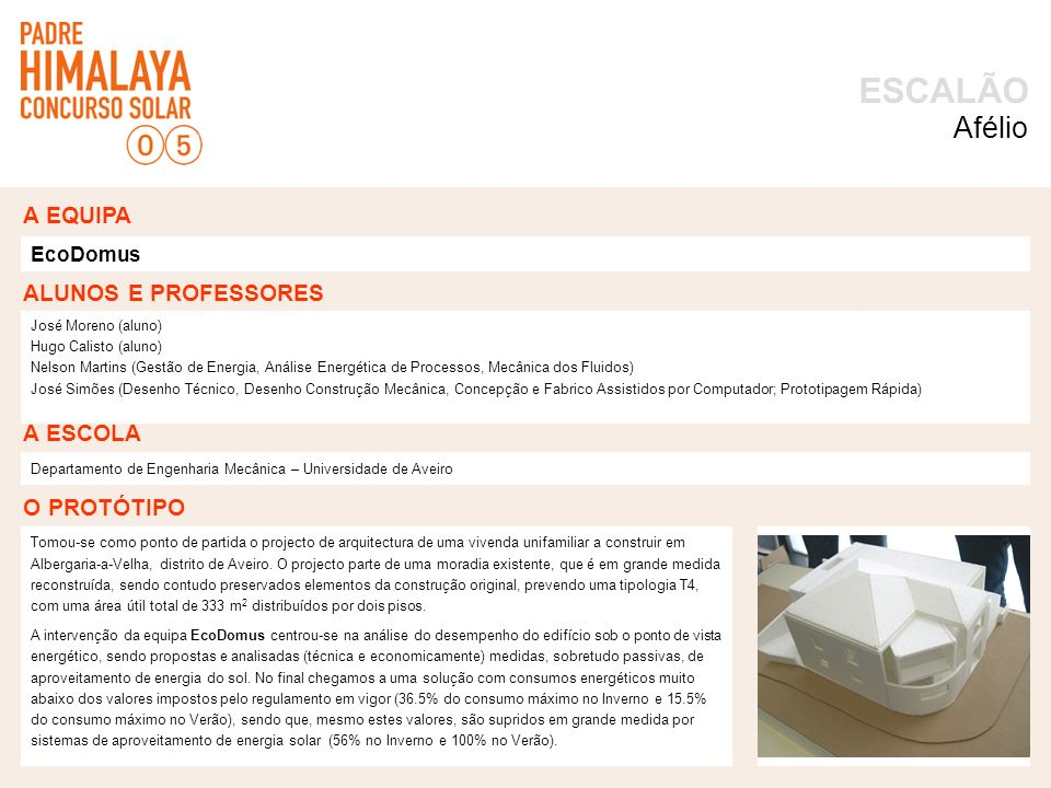 OPÇÕES TOMADAS foto ACTIVIDADES ESCALÃO Desenvolvimento um protótipo da vivenda (maqueta de estudo).