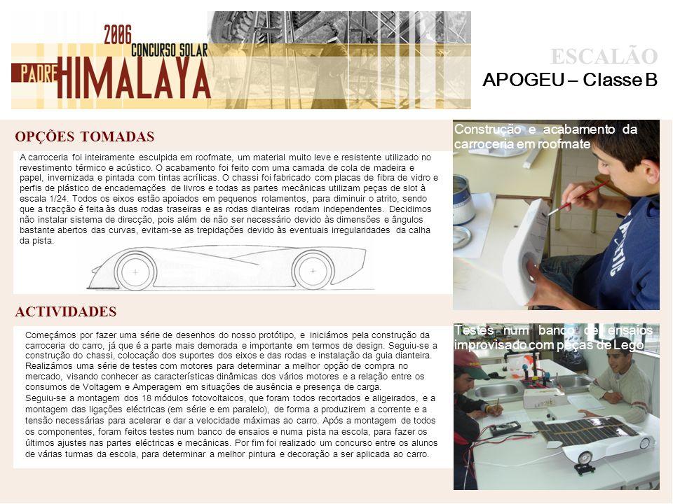 OPÇÕES TOMADAS foto ACTIVIDADES ESCALÃO APOGEU – Classe B A carroceria foi inteiramente esculpida em roofmate, um material muito leve e resistente utilizado no revestimento térmico e acústico.