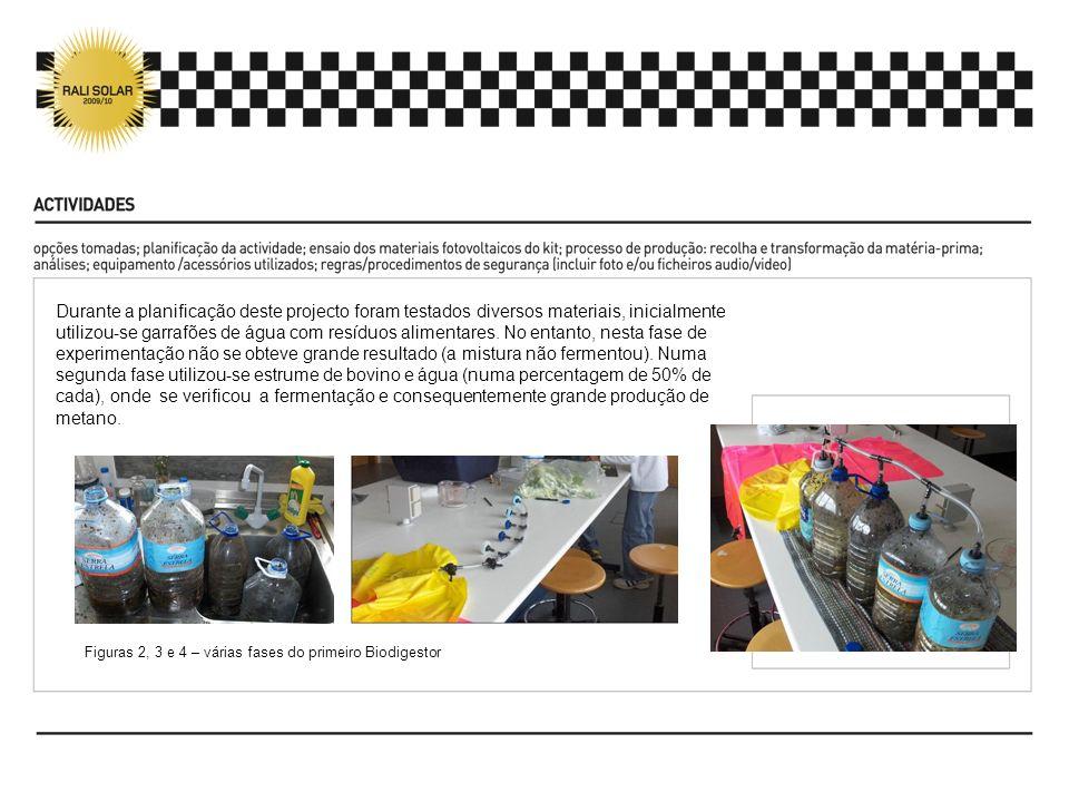 Durante a planificação deste projecto foram testados diversos materiais, inicialmente utilizou-se garrafões de água com resíduos alimentares. No entan