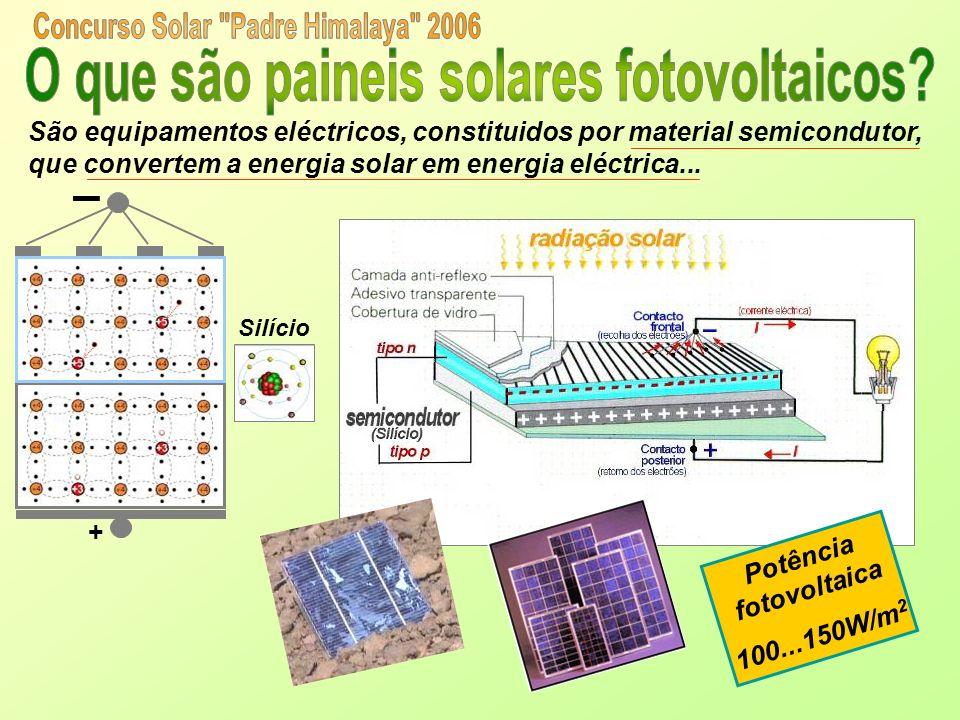 São equipamentos eléctricos, constituidos por material semicondutor, que convertem a energia solar em energia eléctrica... + Silício Potência fotovolt