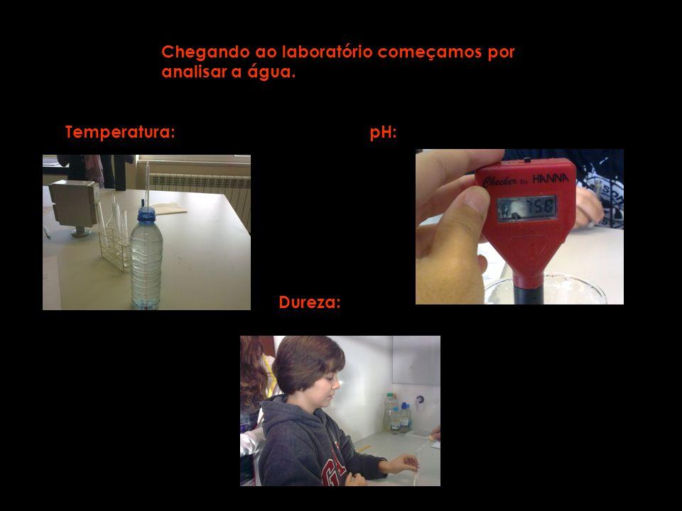 Chegando ao laboratório começamos por analisar a água. Temperatura:pH: Dureza: