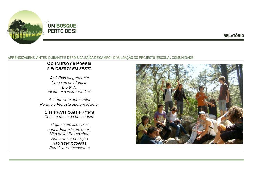 Concurso de Poesia A FLORESTA EM FESTA As folhas alegremente Crescem na Floresta E o 8º A, Vai mesmo entrar em festa A turma vem apresentar Porque a F