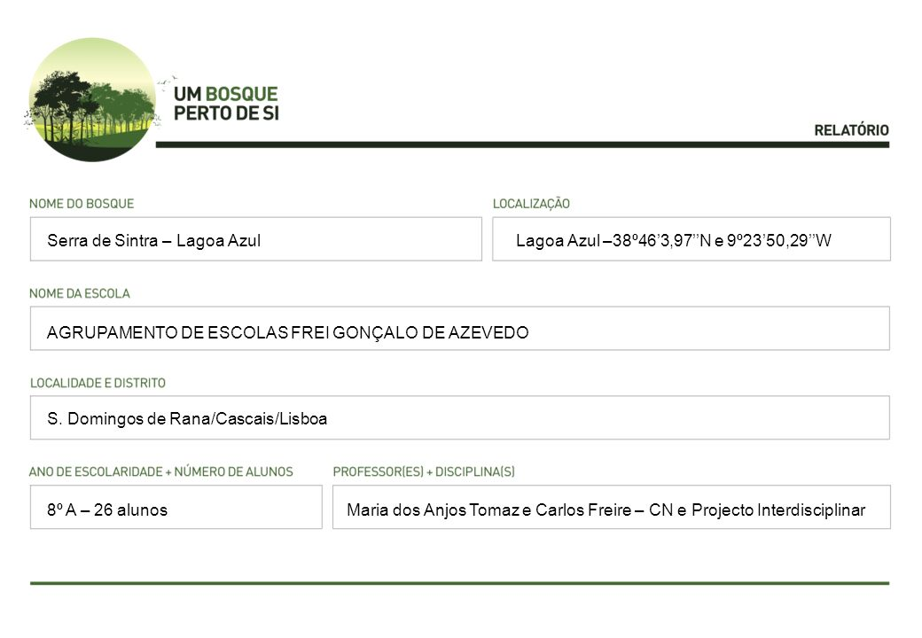 Lagoa Azul –38º463,97N e 9º2350,29W AGRUPAMENTO DE ESCOLAS FREI GONÇALO DE AZEVEDO S. Domingos de Rana/Cascais/Lisboa Maria dos Anjos Tomaz e Carlos F