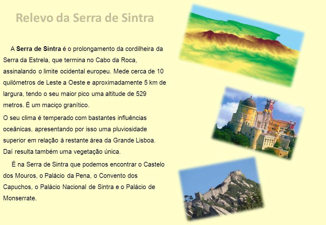 Relevo da Serra de Sintra A Serra de Sintra é o prolongamento da cordilheira da Serra da Estrela, que termina no Cabo da Roca, assinalando o limite oc
