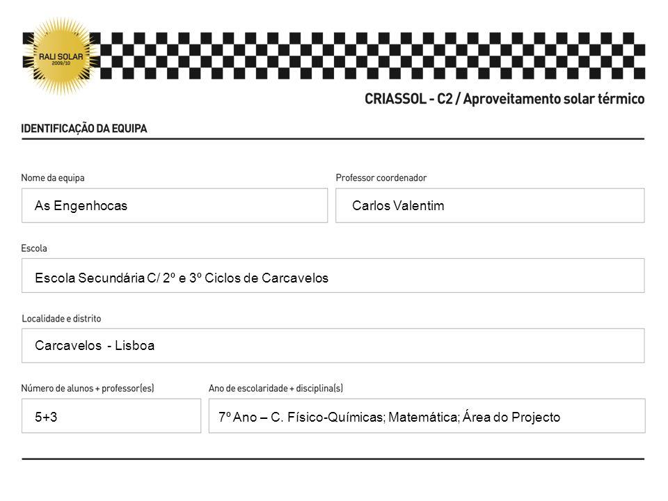 Carlos Valentim Escola Secundária C/ 2º e 3º Ciclos de Carcavelos Carcavelos - Lisboa 7º Ano – C. Físico-Químicas; Matemática; Área do Projecto As Eng