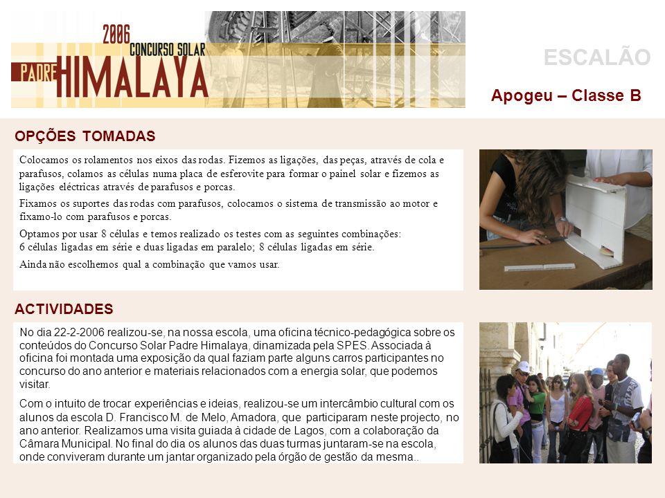 OPÇÕES TOMADAS foto ACTIVIDADES ESCALÃO Apogeu – Classe B No dia 22-2-2006 realizou-se, na nossa escola, uma oficina técnico-pedagógica sobre os conte
